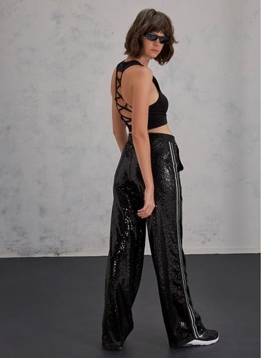 Pi π Payetli Şerit Detaylı Pantolon Siyah